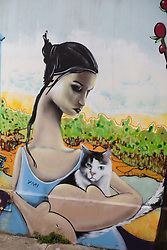 A mural depicting a woman with cat is seen in Valparaiso, Chile.