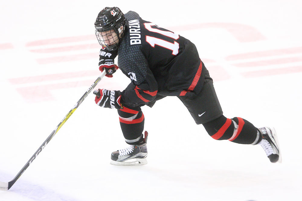 Luka Burzan (Moose Jaw Warriors) seen representing Team Canada White at the 2016 World Under-17 Challenge in Sault Ste. Marie, Ont. Photo by Kenneth Armstrong for CHL Images