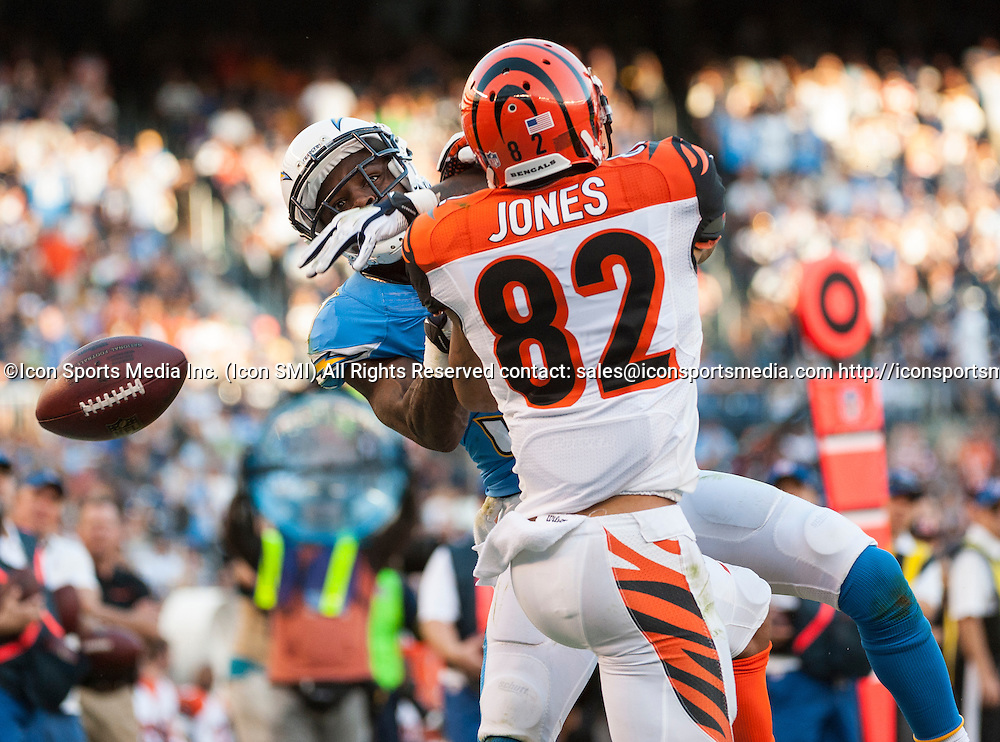 Cincinnati Bengals Wide Receiver Marvin Jones (82) [17761] blocks San Diego Chargers Cornerback Richard Marshall (31) [8849]  during an NFL game against the Chargers held at Qualcomm Stadium in San Diego.