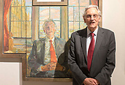 UNITED KINGDOM, London: 08 May 2019 <br /> MP Bruce Grocott, Baron Grocott PC, stands next to his portrait painted by Daphne J. Todd at the launch of The Royal Society of Portrait Painters' annual exhibition at The Mall Galleries, London. <br /> The exhibition consists of faces both famous and not-so famous and is a celebration of the very best in contemporary portraiture nationally and internationally.<br /> Rick Findler