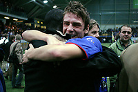 Fotball<br /> Kvalifisering til Tippeligaen<br /> 22.11.2003<br /> Valhall<br /> Sandefjord v Vålerenga 5-3 (5-3)<br /> Jonas Krogstad og Pa Modou Kah<br /> Foto: Morten Olsen, Digitalsport