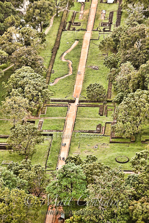 View from the top of Sigiriya Rock of the main promenade leading up to the base of the rock.<br /> (Photo by Matt Considine - Images of Asia Collection)