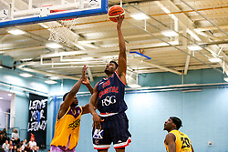 Marcus Delpeche of Bristol Flyers reaches for the basket - Photo mandatory by-line: Robbie Stephenson/JMP - 10/04/2019 - BASKETBALL - UEL Sports Dock - London, England - London Lions v Bristol Flyers - British Basketball League Championship