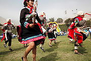 A procession of dancers in traditional costume parades through a town just outside the capital Lima. Every July 28th Peru erupts in celebration, celebrating their independence from the Spanish. The war for independence began in 1811 and after 10 years of conflict in 1821, led by the national hero José de San Martín, an Argentine General and one of the main leaders of South American independence movement, they finally won. Fiestas Patrias Peruanas, or Peruvian National Holidays, sees Peruvians returning home to spend time with their families and extravagant processions through most Peruvian towns.