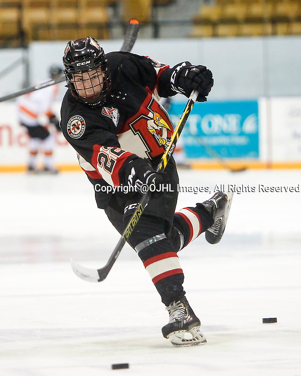 NEWMARKET, ON - Oct 8, 2015 : Ontario Junior Hockey League game action between Orangeville and Newmarket, Nicholas Favaro #22 shoots the puck during warm-up.<br /> (Photo by Brian Watts / OJHL Images)