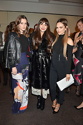 Left to right, SAI BENNETT, ZARA MARTIN and MARIA HATZISTEFANIS at the UK Premiere of The Uncondemned hosted by Women for Women International at BAFTA, 195 Piccadilly, London on 2nd November 2016.