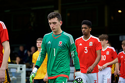 MERTHYR TYDFIL, WALES - Thursday, November 2, 2017: Wales' goalkeeper Lewis Dutton walks out before an Under-18 Academy Representative Friendly match between Wales and Newport County at Penydarren Park. (Pic by David Rawcliffe/Propaganda)