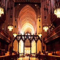 Nave of The National Cathedral in Washington DC, USA.