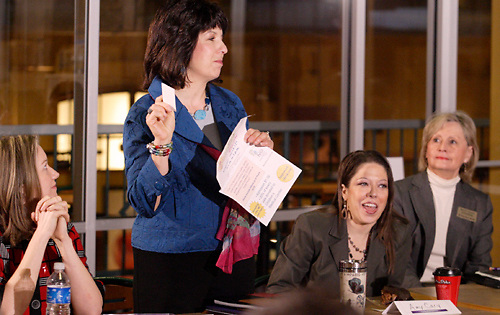 (from left) Julia Lamm of the Springboro Tim Horton's; Renee Glenn of Your Image Matters; Amy Cary of Roberson Law and Elaine Harris of Harris Senior Consulting during the 'Hot Topics' Koffee Talk at the Dorothy Lane Market in Springboro, Friday, March 4, 2011.