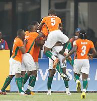 Photo: Steve Bond/Richard Lane Photography.<br /> Ivory Coast v Benin. Africa Cup of Nations. 25/01/2008. Yaya Toure celebrates goal no2 (no 19)