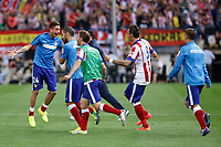 Atletico de Madrid´s players celebrate their victory at the 2014 Supercopa de España `Spain Supercup´ second leg match against Real Madrid at Vicente Calderon stadium. August 22, 2014. (ALTERPHOTOS/Victor Blanco)