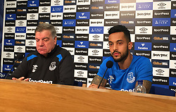Everton new signing Theo Walcott with manager Sam Allardyce during the press conference at Finch Farm, Liverpool.