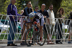 Spencer Beamer (Furman University) holds on.  The 2008 USA Cycling Collegiate National Championships Criterium men's division 2 event held in Fort Collins, CO on May 11, 2008.