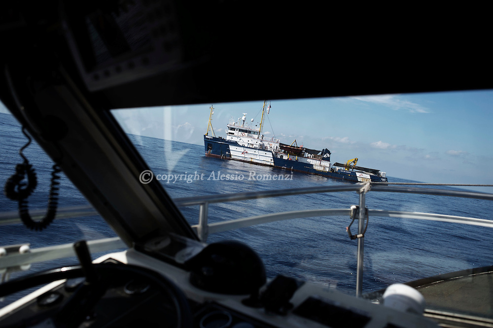 Italy: MSF Dignity1: The dignity1seen from the boat of the coastal guard of Lampedusa on August 23, 2015. Alessio Romenzi