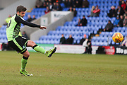 Graham Carey of Plymouth Argyle (10) misses penalty kick during the EFL Sky Bet League 1 match between Shrewsbury Town and Plymouth Argyle at Greenhous Meadow, Shrewsbury, England on 10 February 2018. Picture by Mick Haynes.