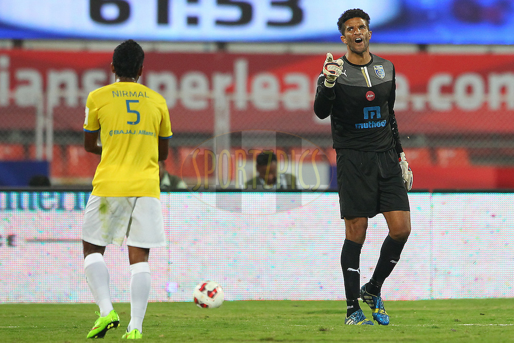 Kerala Blasters FC goalkeeper David James shows his frustration during match 17 of the Hero Indian Super League between FC Pune City<br /> and Kerala Blasters FC held at the Shree Shiv Chhatrapati Sports Complex Stadium, Pune, India on the 30th October 2014.<br /> <br /> Photo by:  Ron Gaunt/ ISL/ SPORTZPICS
