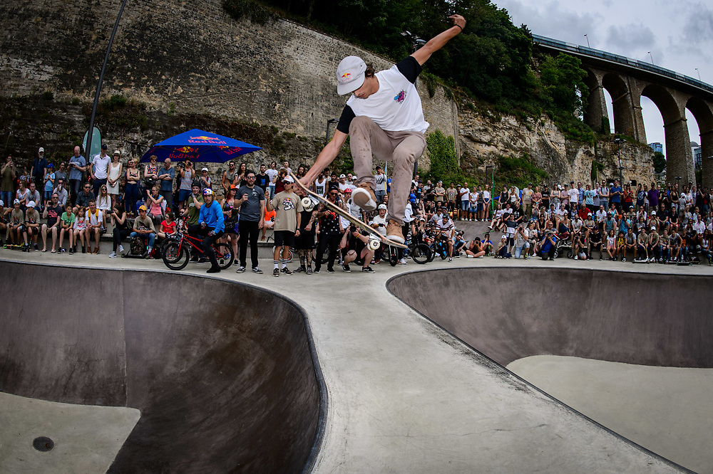 Danny Leon perform during Red Bull 3en1 at Skatepark Péitruss, Luxembourg, Luxembourg, June 3, 2017.