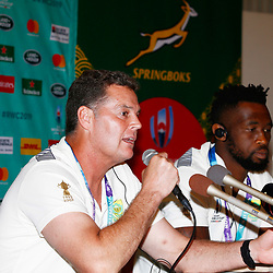 Rassie Erasmus (Head Coach) of South Africa with Siya Kolisi (c) during the Kagoshima training camp: Media conference,Official RWC 2019 Arrivals Media Conference – Head coach and captain, assistant coach and six players available for interviews Friday 13th September 2019 (Mandatory Byline -Steve Haag Sports Hollywoodbets)