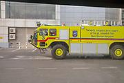 Israel, Ben-Gurion international Airport A fire truck on the ready near the runways