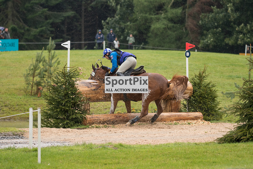 Mikhail Nastenko (RUS) fails to get his horse Reistag over the jump.  Longines FEI European Eventing Championship 2015, Blair Castle, 12th September 2015