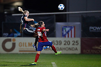 Atletico de Madrid´s Tudela and Olympique Lyonnais´s Hegerberg during UEFA Women´s Champions League soccer match between Atletico de Madrid and Olympique Lyonnais, in Madrid, Spain. November 11, 2015. (ALTERPHOTOS/Victor Blanco)