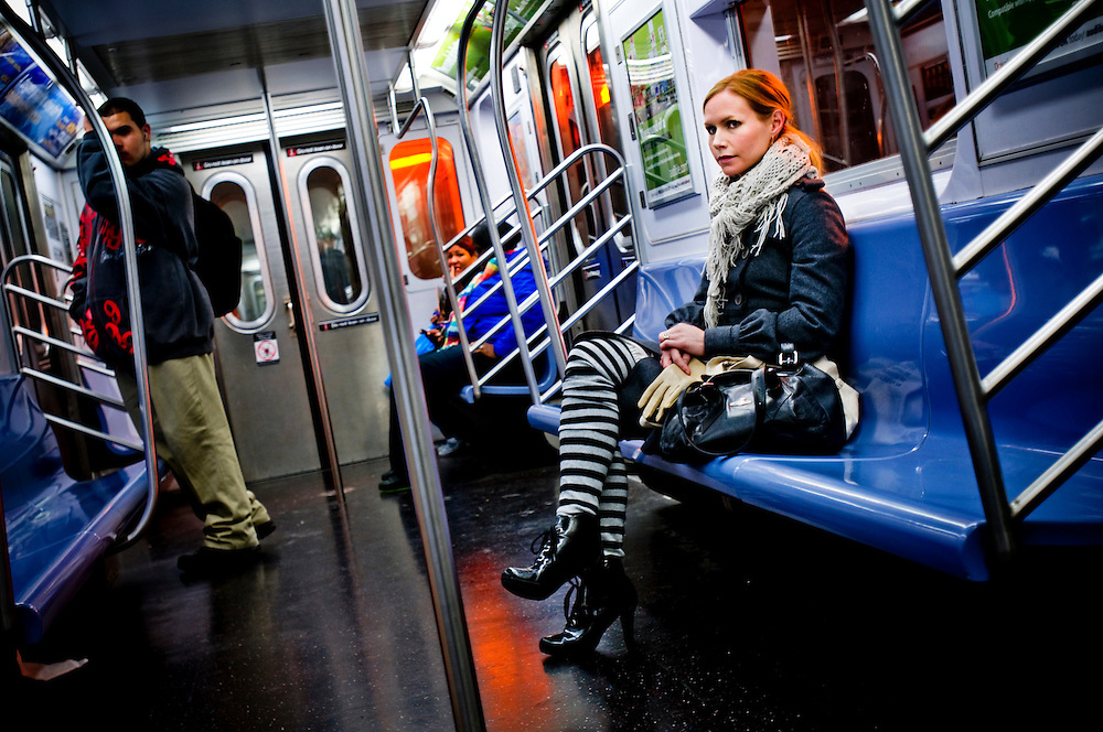 Swedish singer Nina Persson on a subway train in New York..Photographer: Chris Maluszynski /MOMENT
