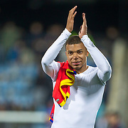 ANDORRA LA VELLA, ANDORRA. June 1.  Kylian Mbappé #10 of France applauds the spectators at the end of the game during the Andorra V France 2020 European Championship Qualifying, Group H match at the Estadi Nacional d'Andorra on June 11th 2019 in Andorra (Photo by Tim Clayton/Corbis via Getty Images)
