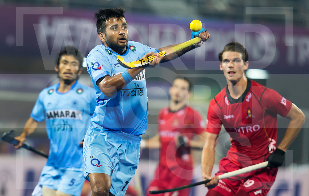 BHUBANESWAR  (INDIA) -  Quater Finals Belgium vs India of the Hero Champions Trophy Hockey.   Manpreet Singh of India and Sebastien Dockier of Belgium (r) . Photo KOEN SUYK