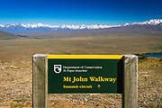 Trail sign on the summit of Mt. John, Lake Tekapo, Canterbury, South Island, New Zealand