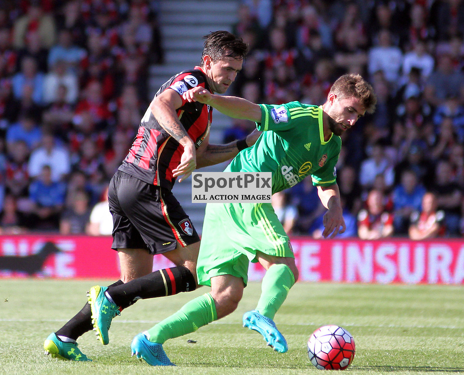 Fabio Borini attempts to hold the ball under pressure from Andrew Surman During Bournemouth vs Sunderland on Saturday 19th September 2015.