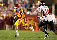 September 2 2010: Iowa State Cyclones wide receiver Josh Lenz (19) tries to avoid Northern Illinois Huskies cornerback Demetrius Stone (19) during the first half of the NCAA football game between the Northern Illinois Huskies and the Iowa State Cyclones at Jack Trice Stadium in Ames, Iowa on Thursday September 2, 2010.