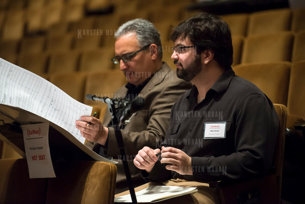 June 3, 2014 - New York, NY : Composer Max Grafe, right, works with mentor composer Robert Beaser during a rehearsal of Grafe's composition by the New York Philharmonic at Avery Fisher Hall on Tuesday. Three works by little-known composers, such as Grafe, will be selected for inclusion in the New York Philharmonic's Biennial. CREDIT: Karsten Moran for The New York Times