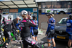 Thea Thorsen (NOR) of Hitec Products Cycling Team checks her radio before the Omloop van Borsele - a 107.1 km road race, starting and finishing in s'-Heerenhoek on April 22, 2017, in Borsele, the Netherlands.