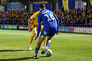 AFC Wimbledon midfielder Dylan Connolly (16) dribbling during the EFL Cup match between AFC Wimbledon and Milton Keynes Dons at the Cherry Red Records Stadium, Kingston, England on 13 August 2019.