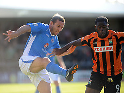 Eastleigh Craig Stanley stops Barnets John Akinde, Barnet v Eastleigh, Vanarama Conference, Saturday 4th October 2014