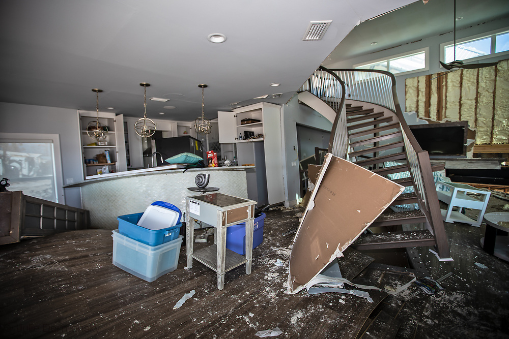 Inside home destroyed by  Hurricane Michael in Mexico Beach, Florida.