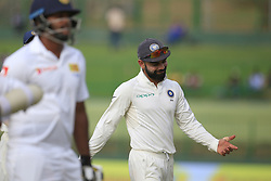 August 13, 2017 - Colombo, Sri Lanka - Indian cricket captain Virat Kohli reacts after Sri Lanka's 1st innings finished during the 2nd Day's play in the 3rd Test match between Sri Lanka and India at the Pallekele International cricket stadium, Kandy, Sri Lanka on Sunday 13 August 2017. (Credit Image: © Tharaka Basnayaka/NurPhoto via ZUMA Press)
