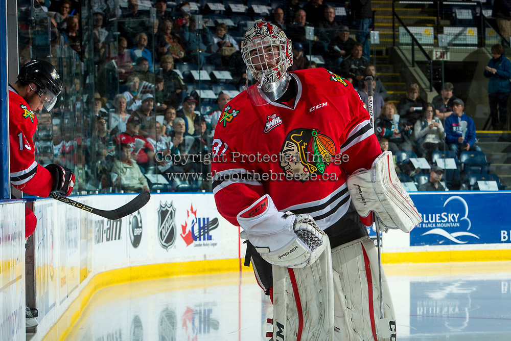 KELOWNA, CANADA - APRIL 7: Cole Kehler #31 of the Portland Winterhawks enters the ice at the Kelowna Rocketson April 7, 2017 at Prospera Place in Kelowna, British Columbia, Canada.  (Photo by Marissa Baecker/Shoot the Breeze)  *** Local Caption ***