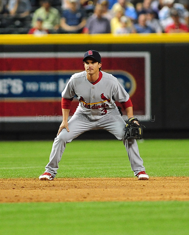 Apr. 13 2011; Phoenix, AZ, USA; St. Louis Cardinals infielder Ryan Theriot (3) reacts on the field while playing against against the Arizona Diamondbacks at Chase Field. The Cardinals defeated the Diamondbacks 15 -5. Mandatory Credit: Jennifer Stewart-US PRESSWIRE..