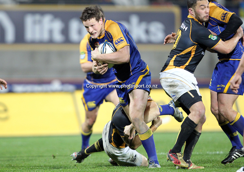 Glenn Dickson busts the line.<br /> Rugby - ITM Cup - Mike Gibson Memorial Trophy - Otago v Wellington, 14 August 2010, Carisbrook, Dunedin, New Zealand.<br /> Photo: Rob Jefferies/PHOTOSPORT