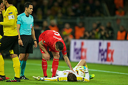 DORTMUND, GERMANY - Thursday, April 7, 2016: Liverpool's Dejan Lovren is injured after clashing with Borussia Dortmund's goalkeeper Roman Weidenfeller during the UEFA Europa League Quarter-Final 1st Leg match at Westfalenstadion. (Pic by David Rawcliffe/Propaganda)