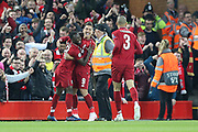 Liverpool midfielder Naby Keita (8) scores a goal 1-0 and celebrates during the Champions League Quarter-Final Leg 1 of 2 match between Liverpool and FC Porto at Anfield, Liverpool, England on 9 April 2019.