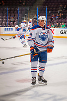 PENTICTON, CANADA - SEPTEMBER 9: Ethan Bear #74 of Edmonton Oilers stands on the ice during warm up against the Winnipeg Jets on September 9, 2017 at the South Okanagan Event Centre in Penticton, British Columbia, Canada.  (Photo by Marissa Baecker/Shoot the Breeze)  *** Local Caption ***