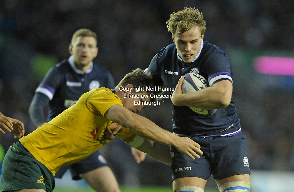 No Sales, Syndication or Archive <br /> <br /> Autumn Tests<br /> Scotland v Australia Saturday 25th November 2017, BT Murrayfield, Edinburgh.<br /> <br /> Michael Hooper of Australia and Jonny Gray of Scotland<br /> <br /> <br />  Neil Hanna Photography<br /> www.neilhannaphotography.co.uk<br /> 07702 246823