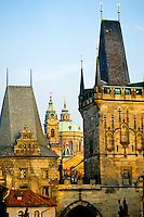 View from the Charles Bridge to St. Nicholas Cathedral, Little Town, Prague, Czech Republic