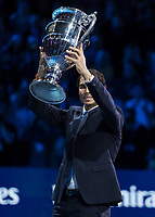 Tennis - 2017 Nitto ATP Finals at The O2 - Day One<br /> <br /> Group Boris Becker Singles: Roger Federer (Switzerland) vs. Jack Sock (USA)<br /> <br /> Rafael Nadal (Spain) holds aloft his ATP World number 1 trophy at the O2 Arena<br /> <br /> COLORSPORT/DANIEL BEARHAM