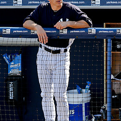 Feb 28, 2013; Tampa, FL, USA; New York Yankees manager Joe Girardi during the bottom of the sixth inning of a spring training game against the Toronto Blue Jays at George Steinbrenner Field. Mandatory Credit: Derick E. Hingle-USA TODAY Sports