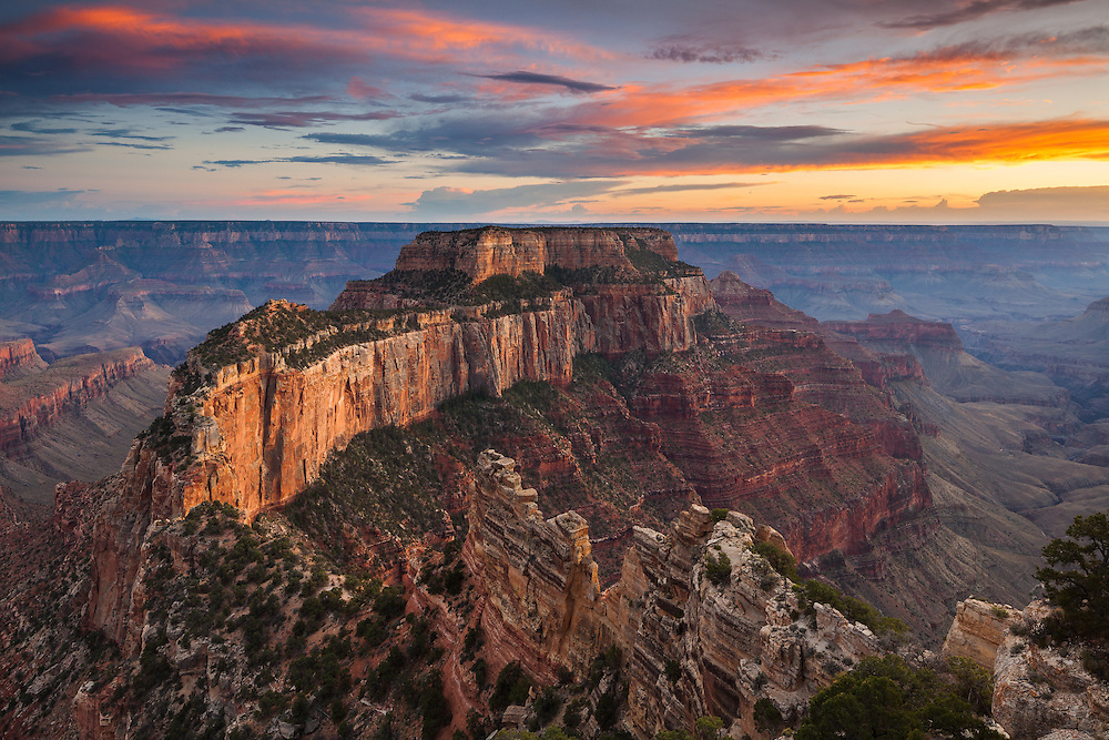 Wotans Throne as viewed from Cape Royal on the North Rim of Grand Canyon National Park.