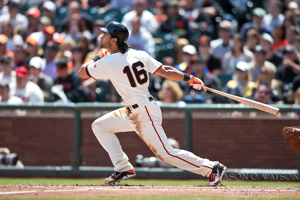 SAN FRANCISCO, CA - APRIL 26:  Angel Pagan #16 of the San Francisco Giants at bat against the Cleveland Indians during the third inning at AT&T Park on April 26, 2014 in San Francisco, California. The San Francisco Giants defeated the Cleveland Indians 5-3.  (Photo by Jason O. Watson/Getty Images) *** Local Caption *** Angel Pagan