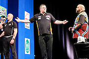 Steve West celebrates victory over Kyle Anderson in the first round during the 2016 Gibraltar Darts Trophy at the Victoria Stadium, Gibraltar on 6 May 2016. Photo by Shane Healey.